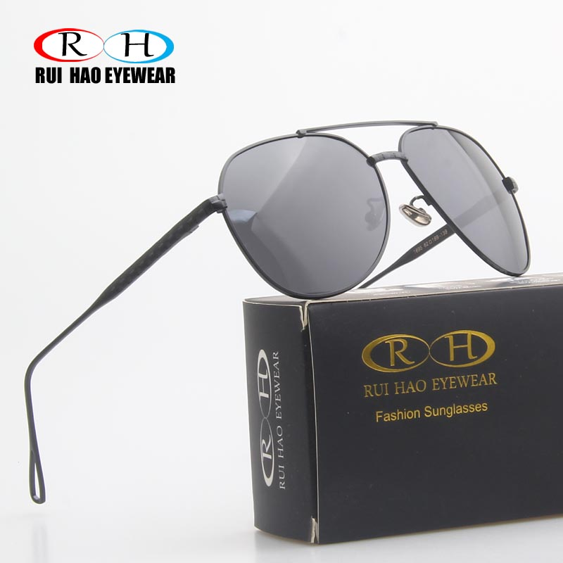 RUI HAO EYEWEAR Brand Retro Polarized Sunglasses Men Black Frame Polarized Glasses Grey Lenses Driving Sun Glasses 1695B