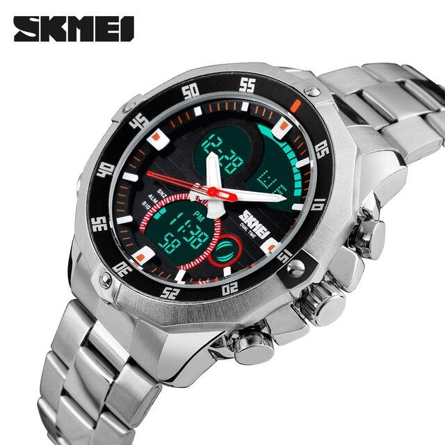 Luxury Brand Skmei Men's Watches Multifunction Army Military Digital Analog Quartz Date LED Stainless Steel Sport Wrist watch