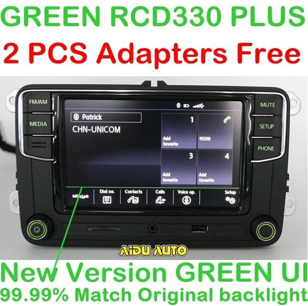 AIDUAUTO RCD330 Plus Radio zielony przycisk światła dla Skoda Octavia fabia