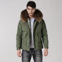 real raccoon fur hood jacket cotton man winter coats