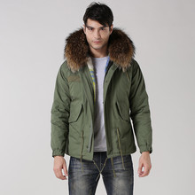 real raccoon fur hood jacket cotton man winter coats