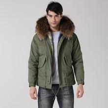 Реального ракун меховой капюшон куртки хлопка человек зимние пальто