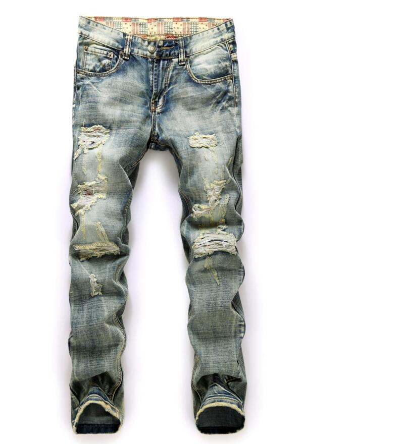 Mens Straight Holes Jeans New Spring Men Vintage Denim Long Jeans Men Cotton Distressed  ...