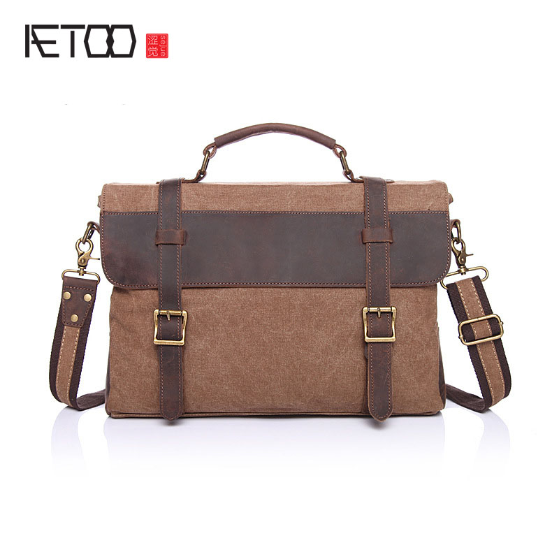 AETOO Canvas bag with the first layer of crazy horse leather leisure package Europe and the United States retro single shoulder europe and the united states in the summer of new crystals with dew toe hit the color of the air after the air buckle with a thi