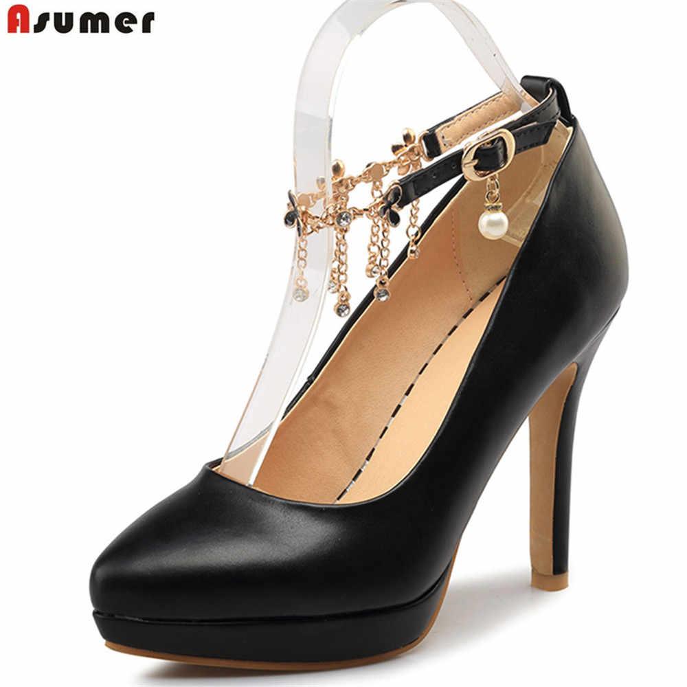 ASUMER schwarz rosa weiß mode frühling herbst damen pumpen spitz schnalle elegante hochzeit schuhe frauen high heels schuhe