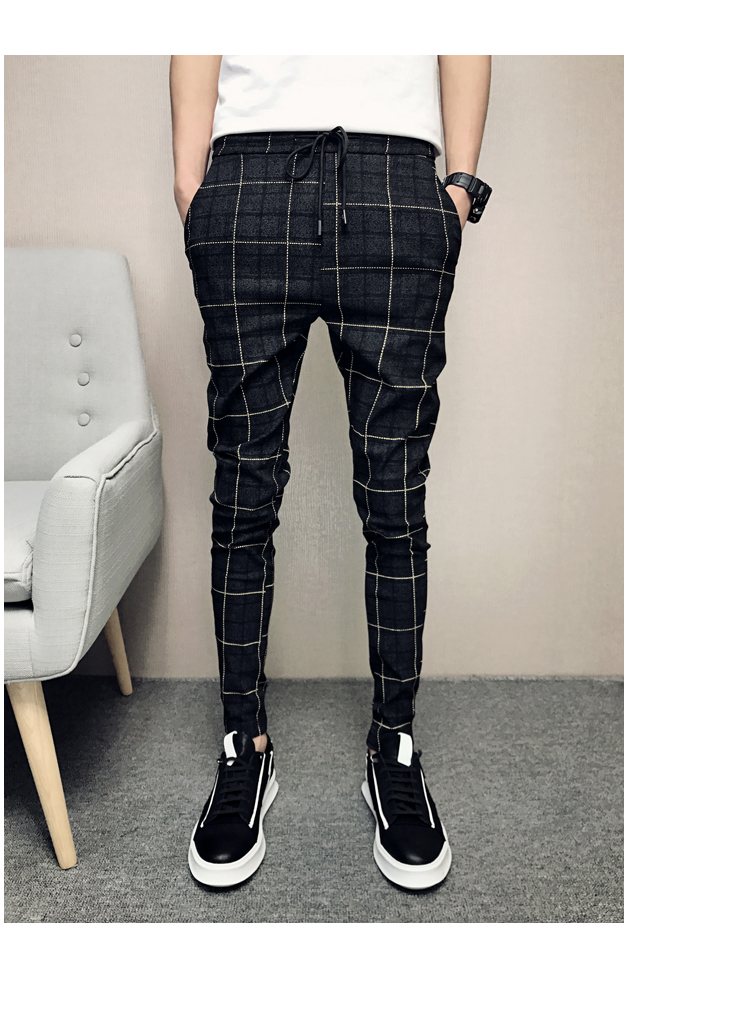 New Pants Men Slim Fit British Plaid Mens Pants Fashion High Quality 2020 Summer Casual Young Man Hip Hop Trousers Male Hot Sale 18