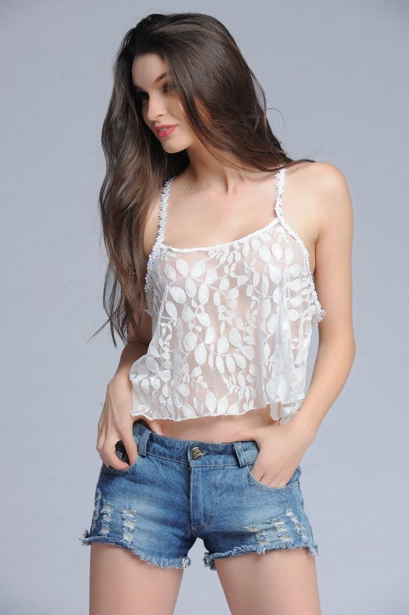 Горячая Распродажа, кружевные летние блузы с объемными цветами, женские укороченные топы, Модные прозрачные сексуальные повседневные майки - Цвет: Белый