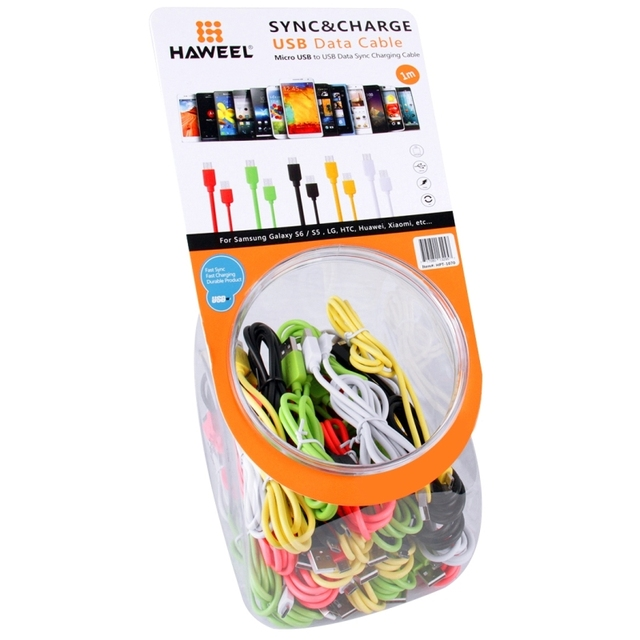 35 Pieces Mixed Colors High Speed Micro USB to USB Data Sync Charging Cable with Cans for Samsung, LG, HTC, Length: 1m