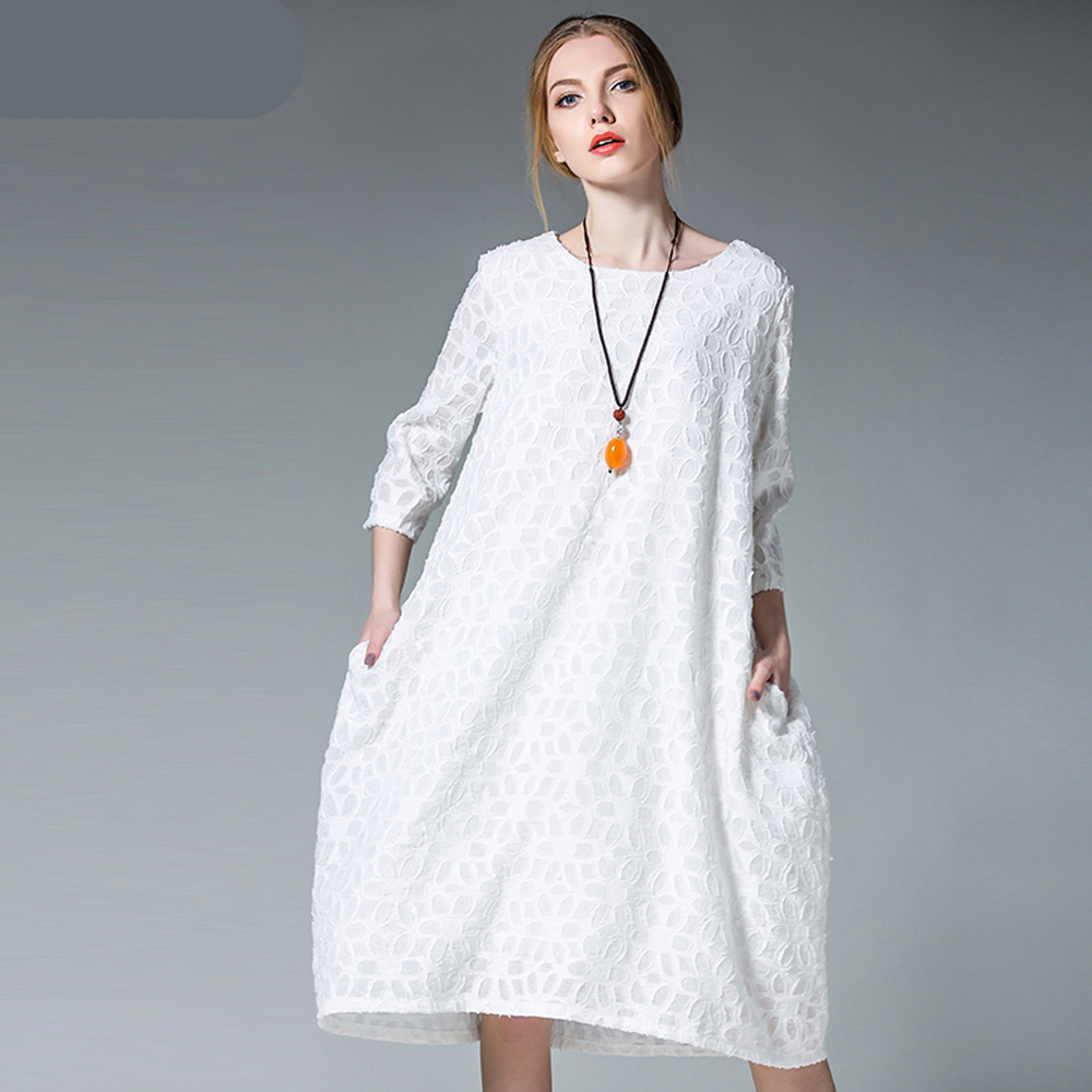 Ladies Elegant Party 2017 Casual Women Spring Summer White Blue Fat Large  Big Plus Size Dress Vestido Tunic Clothing Robe Femme-in Dresses from  Women s ... 4e58a684f7ff