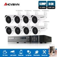 AHCVBIVN CCTV Security Camera 5MP H.265 System Kit 4mp 8Pcs villa Outdoor Monitor IR Video Surveillance System 8ch DVR Kits