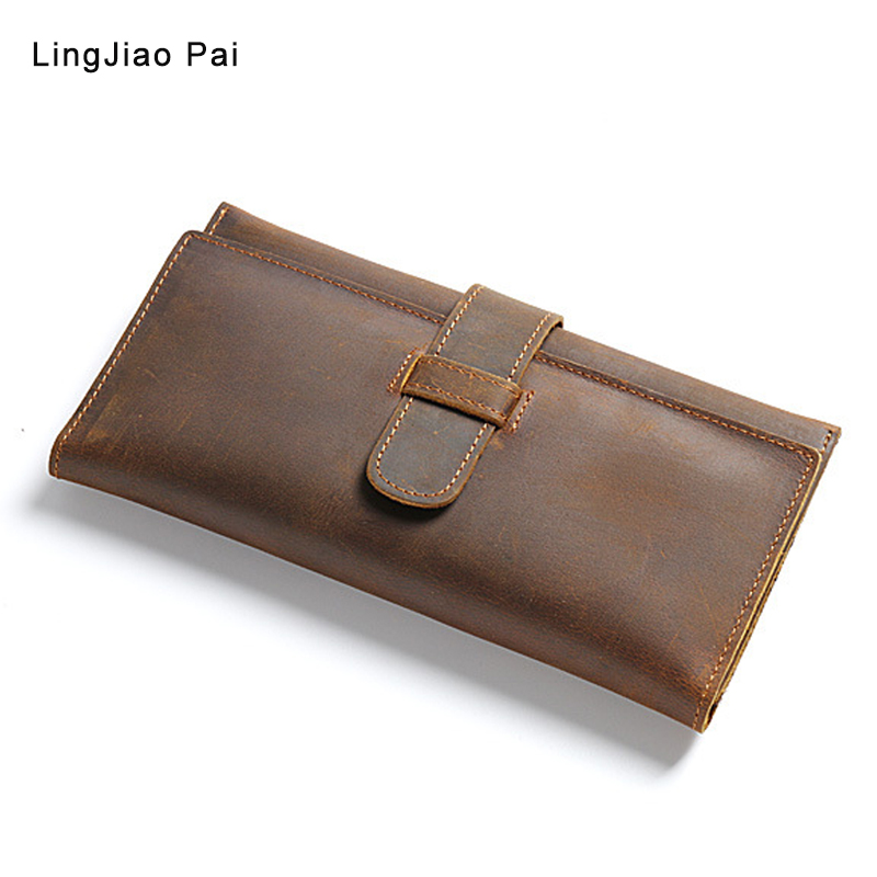 men wallet vintage cow crazy horse luxury leather Manual male purse carteira masculina original cowhide with cell phone pocket 2016 hot selling layer crazy horse leather male purse cow vintage wallets simple luxury men carteira masculina m1068