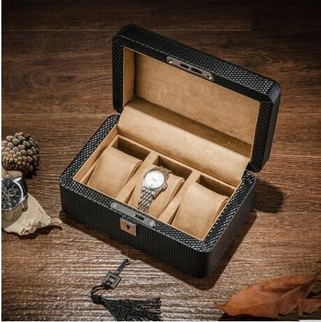 Luxe En fiber de Carbone cortex + 3-grille stockage de boîte de montre en bois montre tiroirs organisateur boîte montre affichage Avec serrure MSBH013