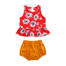 2 Pcs Baby Girl Floral Clothing Set Toddler Kid Girls Clothes Vest Tops Shorts Outfits 2019