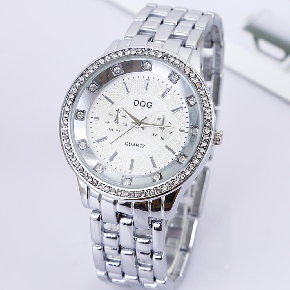 New Fashion DQG Brand Quartz Watch Ladies Crystal Big Dial Stainless Steel Strap Women's Dress Watches Relogio Feminino Clock new luxury brand dqg crystal rosy gold casual quartz watch women stainless steel dress watches relogio feminino clock hot sale