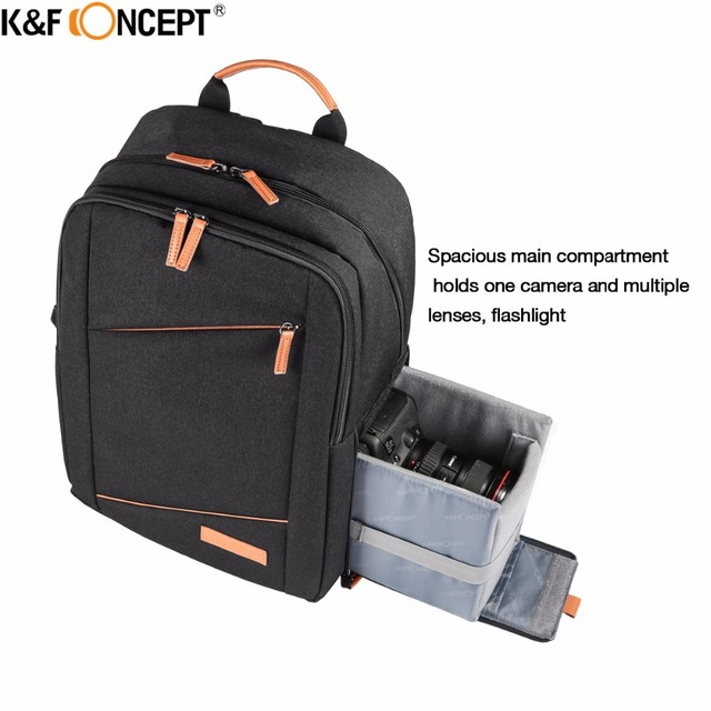K F CONCEPT Multi-functional Waterproof Camera Backpack Modern Casual style  Bag with Raincover hold 1 Camera and Multiplel lens