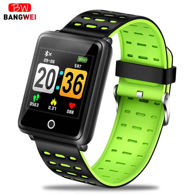 BANGWEI 2019 New Sports Watch Mens women Smart watch Heart rate wristband Blood pressure monitor Sport Mode Fitness tracker+box