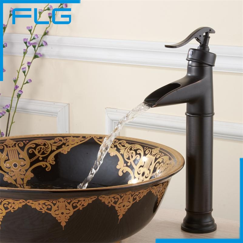 China Sanitary Ware Bathroom Black Tall Deck Mounted Waterfall Mixer Copper Oil Rubbed Bronze Retro
