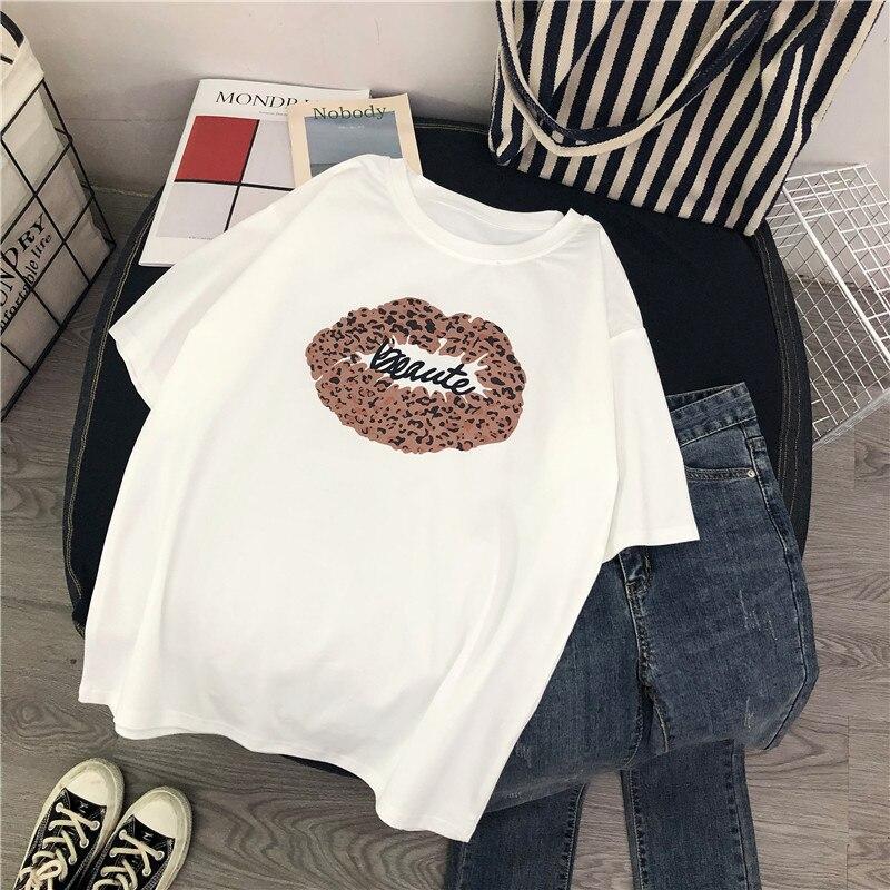 Harajuku T Shirt Women 2019 Summer Korean Leopard Lip Printed Tshirt Loose Casual Short Sleeve Tees Tumblr Female Top