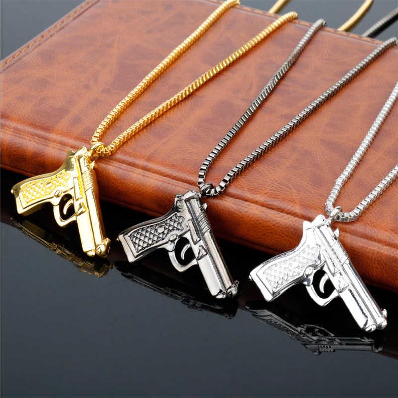 MQCHUN موضة الهيب هوب الذهبي الفضة اللون بندقية قلادة قلادة الرجال سبائك الكامل بلينغ رشاش عوزي بندقية قلادة النساء الرجال هدية