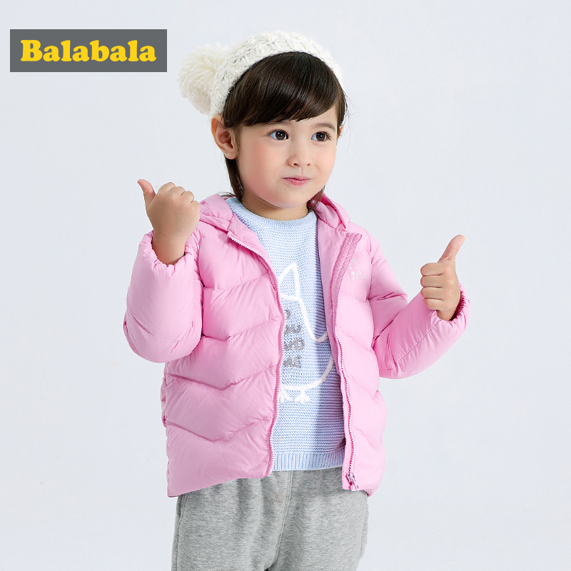 balabala Kids Winter warm parka Hooded down jackets For Girls Parkas Baby Girl Warm Coat Princess Children Thicken Outerwear kids vest girl boy winter warm thicken vests baby down cotton coat waistcoat zipper hooded jackets for girls boys children coats
