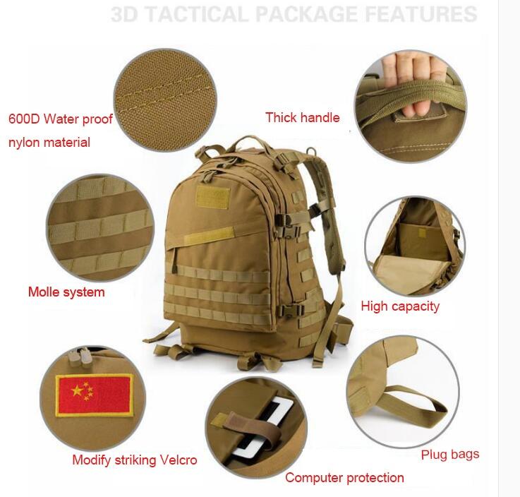 3D Açıq İdman Hərbi Taktik Tırmanma Alpinist Sırt Kamp Kamp - İdman çantaları - Fotoqrafiya 4