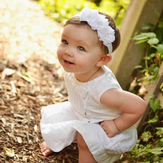 Weiß Chiffon Baby Stirnband Taufe Stirnband Chiffon Blume