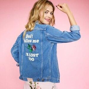 Image 2 - ผู้หญิง Basic Coats ฤดูใบไม้ร่วง Denim แจ็คเก็ต Vintage เย็บปักถักร้อยแขนยาวหลวมพลัสขนาด 5XL กางเกงยีนส์ฤดูหนาวสบายๆ Outwear