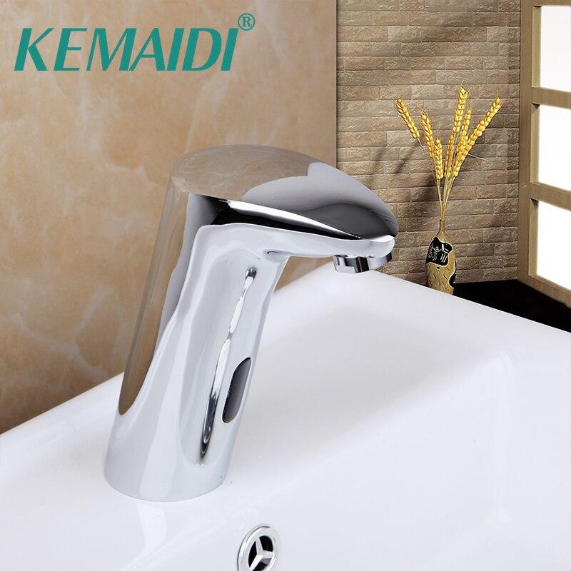 KEMAIDI Luxury Bathroom Automatic Hands Touch Free Sensor Basin Chrome Brass Sink Mixer Kitchen Tap Mixer Auto-Sensor Faucet chrome lavatory bathroom faucet wall mounted sensor faucet automatic hands free touch sensor bathroom sink tap faucet