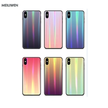Luxury Aurora Glass Color Cases  Cell Shell for the Back Cover of iPhone 7 Plus case 8 6 6s x s Max XR