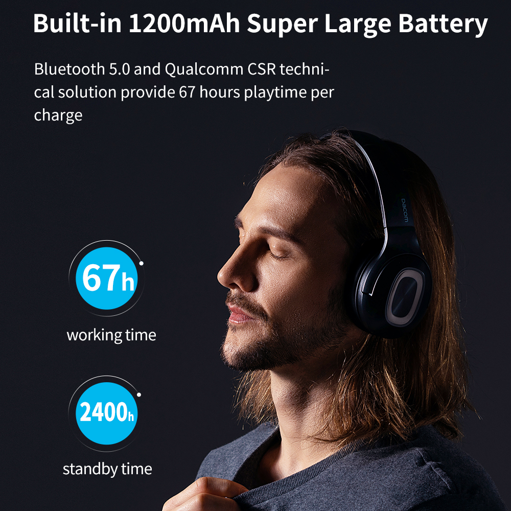 Image 3 - Dacom HF002 Headphones Bluetooth Earphone Wireless Headphone Over Ear Headset 5.0 Head Set Phones with Mic For Phones Computer-in Phone Earphones & Headphones from Consumer Electronics
