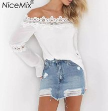 NiceMix 2017 Summer Women Blouse Sexy Off Shoulder Casual Tops Blusas Lace Hollow Out Shirt Ladies Blouses