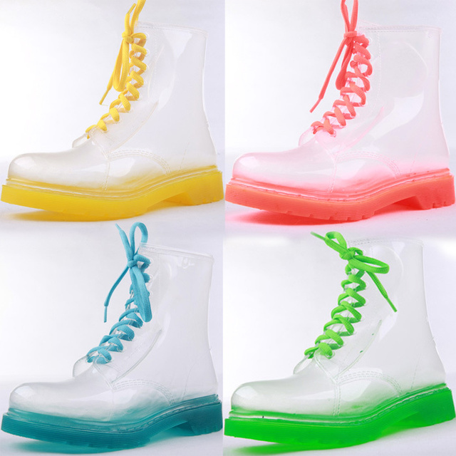 54149dd1d Women Fashion Leisure Clear Transparent Rain Boots Lace-up Martin Boots  Jelly Shoes Ankle Boots Heels Lace Up 4 Colors Wholesale