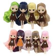 Mini muñeca Blythe desnuda, muñeco de fábrica BJD de 11cm, adecuado para el cambio de pelo de maquillaje, largo, puede cambiar su pelo, como en los puntos