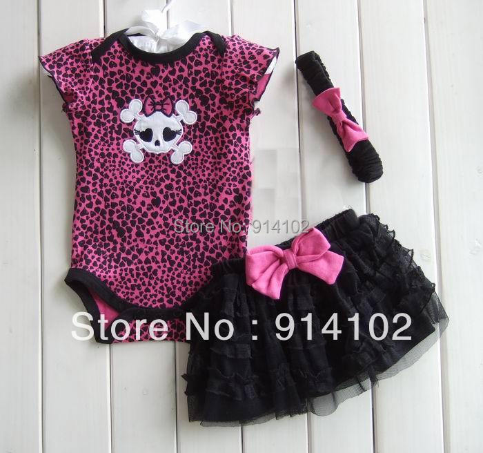Free Shipping Hot Sale Girls Clothing 3 Piece Suits Skull Romper +Tutu Skirt + Headband Baby Leopard Summer Sets Girls Clothes retail baby clothing set baby girl clothes 3 pcs sets romper tutu skirt headband 3pcs sets polka dot princess tutu dress