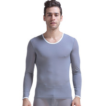KWAN.Z thermal underwear ultra-thin silky translucent pajamas top male thermos underwear O neck