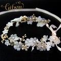 Envío gratis de la flor con perlas de agua dulce Wedding Tocados de novia vid pelo Tocados para el pelo de boda