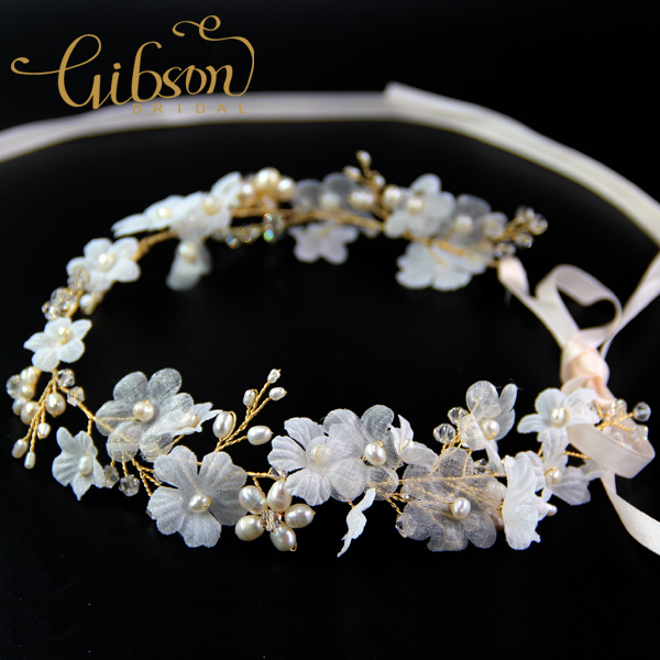 Free Shipping Flower with Freshwater Pearl Wedding Headpieces Bridal Hair Vine Tocados para el pelo de boda