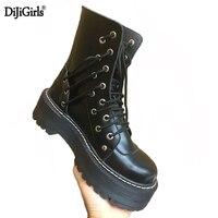 Dijigirls Boots Women Genuine Leather Rubber Boots For Women Lace Up Oxford Platform Punk Locomotive Black