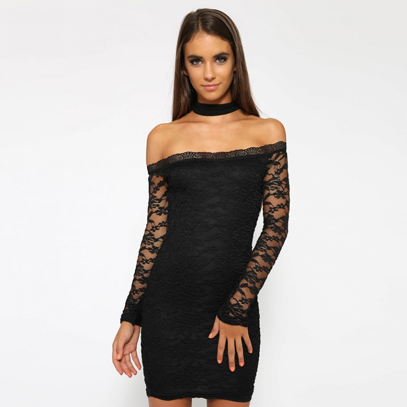New Sheath Halter Neck White Lace Dress Zipper Back Bodycon Club Party  Dress Full Sleeve Vestidos de Renda Sexy with Necklace-in Dresses from  Women s ... 62bb8c0dc583