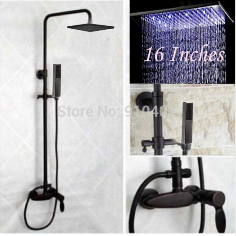 LED Large 16 Rain Shower Head Oil Rubbed Bronze Shower Mixer Tap W/ Hand Shower