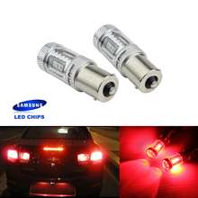 ANGRONG 2X 1156 P21W R10W BA15S SAMSUNG Red LED Sidelight DRL Reverse Brake Light Bulbs