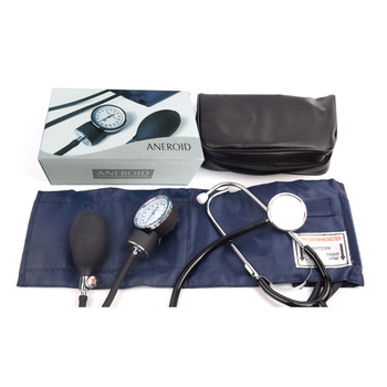 Manual medical blood pressure monitor strap stethoscope arm type blood pressure device aneroid sphygmomanometer +storage bag