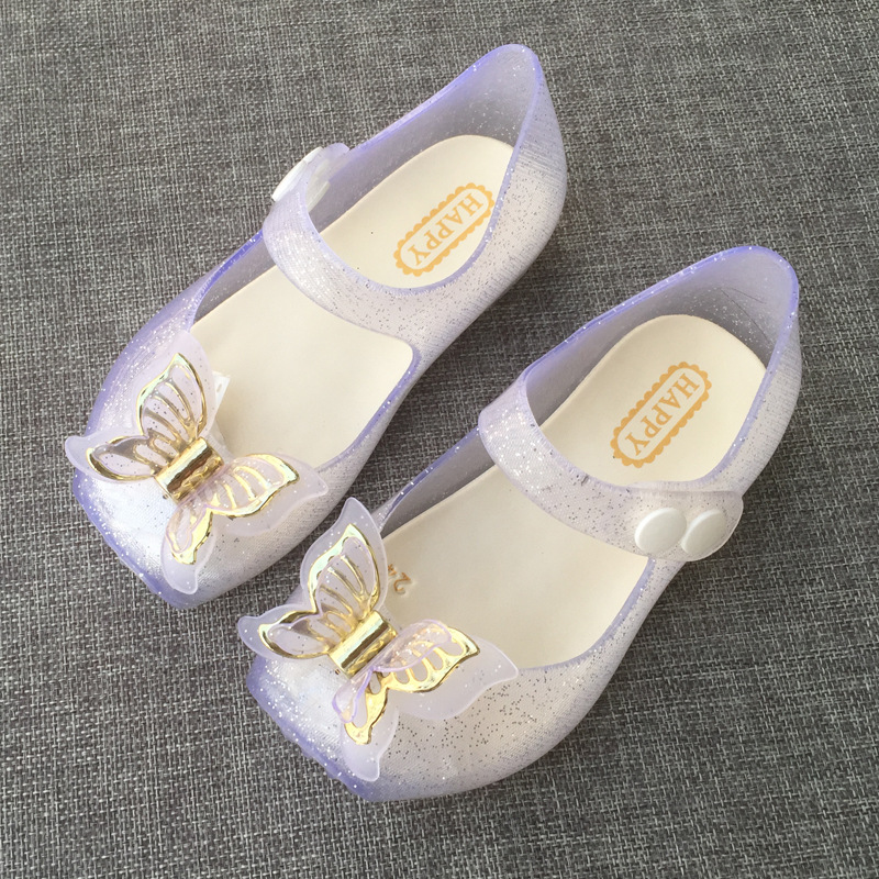 Cute Butterfly Shoe for Girls 2019 New Jelly Sandals Children Shoes Baby Silvery Beach 1-3 Years