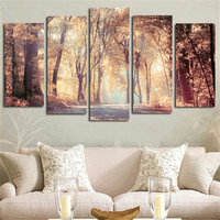 5pcs Wall Art Canvas Painting Printed Landscape Autumn Leaves Modular Pictures Posters Home Decoration For Living