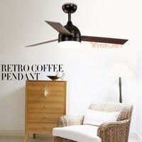 Vintage Ceiling Fan Lamp Minimalist Black White Ceiling Fan Light With LED Light With Remote Control