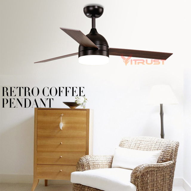 Vintage Ceiling Fan Lamp Minimalist Black White Light With Led Remote Control