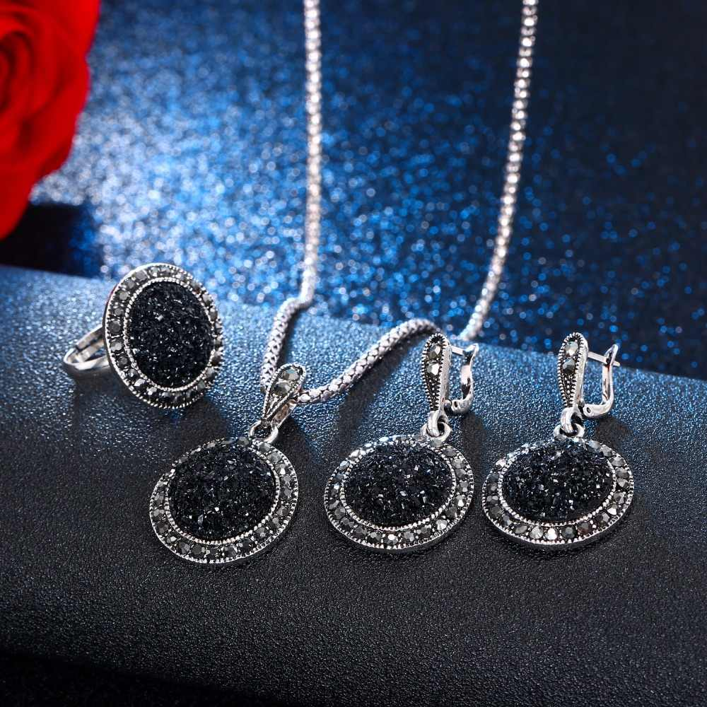 AILEND Vintage Crystal Round Jewelry for Women Charm Necklace Earrings Color Black Fashion Party Earring Jewelry New arrival
