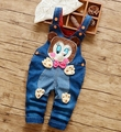 "2016 new arrival  infant  jeans pant baby boy and girl cartoon denim ""duck with tie"" design"