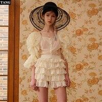 Tang Spring Summer Tiered Ruffles Short Dress Women's Polka Dot half sleeves mini dress Flower Printed Vacation Chiffon dress