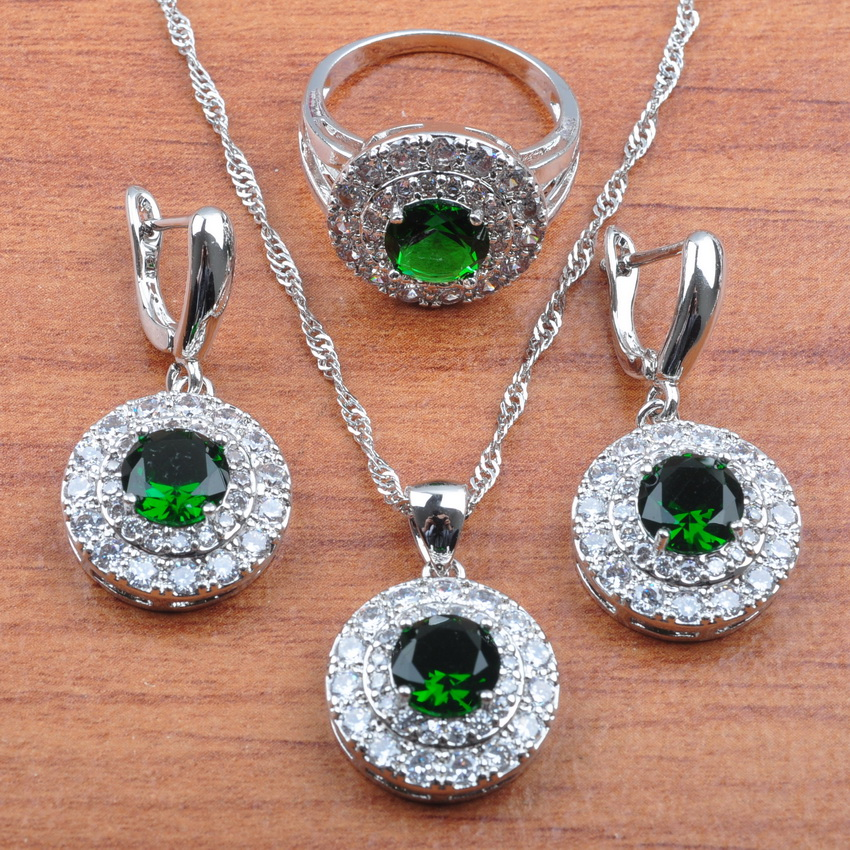 2019 New Classic Round 925 Silver Natural Zircon Jewelry Sets Women Bridal Costume Dangle Earrings/Necklace/Ring JS273